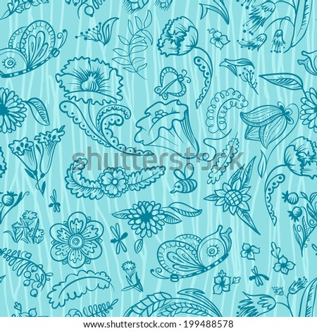 Cute floral summer and spring seamless pattern