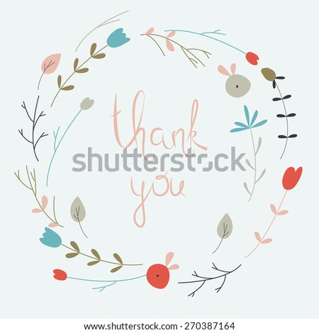 Cute floral wreath with small flowers in cartoon style. Thank you card. - stock vector