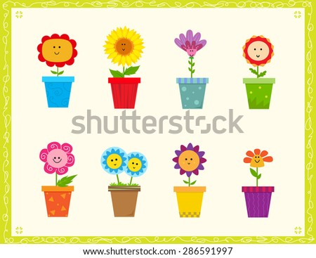 Cute Flowers - Cartoon set of eight cute flowers in a pot. Eps10