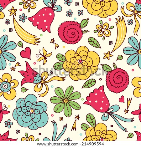 Cute flowers vector seamless pattern. Seamless pattern can be used for wallpaper, pattern fills, web page background, surface textures.