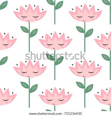 Cute flowers eyes pattern on white stock vector 721236430 shutterstock cute flowers with eyes pattern on white background pink cartoon flowers seamless background child mightylinksfo
