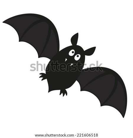 cute flying bat with fangs vector illustration - stock vector