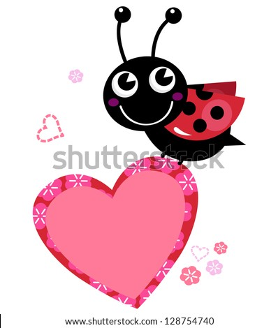 Cute flying Ladybug holding heart isolated on white - stock vector
