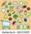 cute food stickers - stock vector