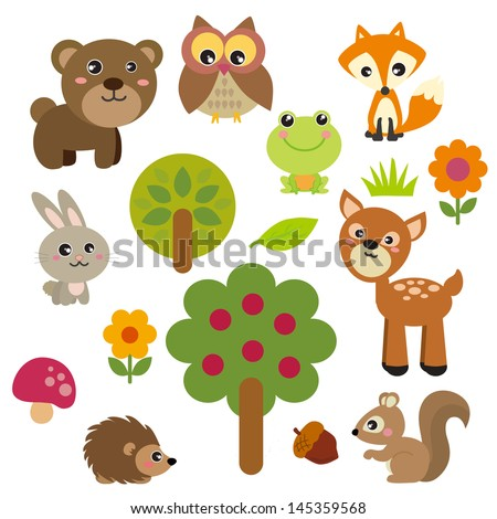 Cute Forest Animals - stock vector