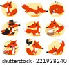 Cute Fox cartoon inaction set, with fox in nine different situations like: posing, running, sleeping, detective fox, with a blackbird and, also, an annoyed fox vector illustration.  - stock
