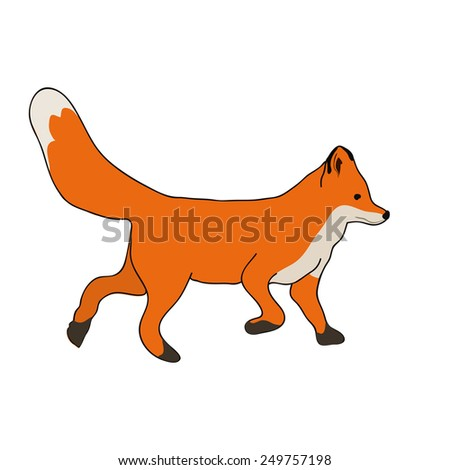 Cute fox running - stock vector