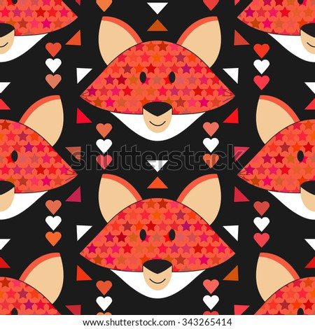 Cute fox seamless pattern. Forest background with animals. Vector illustration with orange fox head in abstract tribal ethnic style. Geometric baby fox kids woodland theme.  Doodle for children. - stock vector