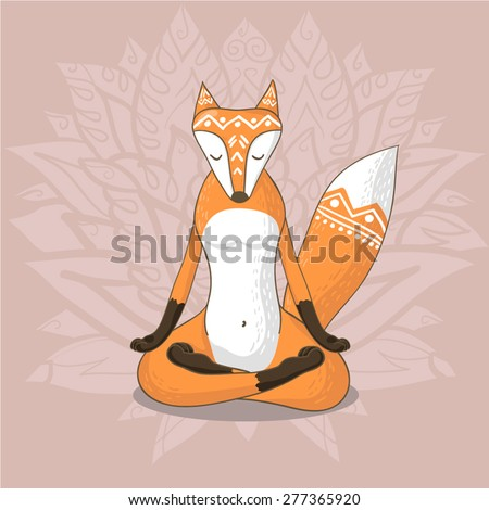 Cute fox sitting in yoga lotus pose and relaxing - stock vector