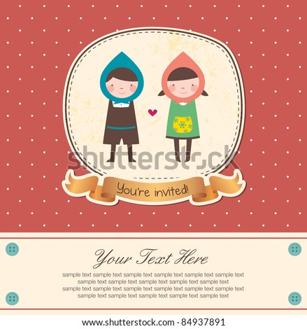 Cute Frame Design for Couple. Suitable for Wedding Invitation. - stock vector