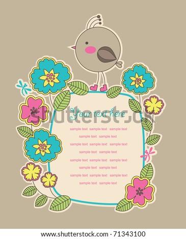 cute frame design for greeting card. vector illustration - stock vector