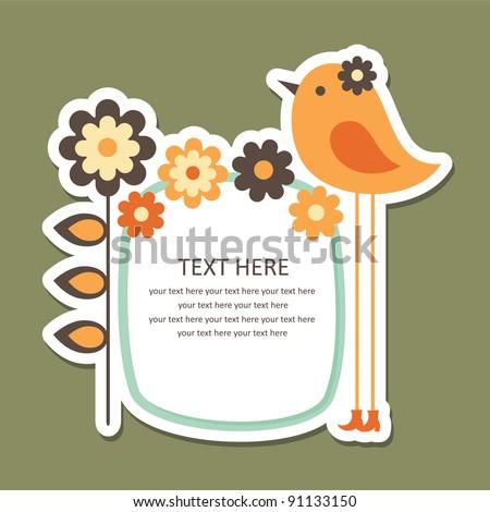 cute frame design with bird. vector illustration - stock vector