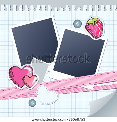 cute frame for photos with scrapbook elements - stock vector