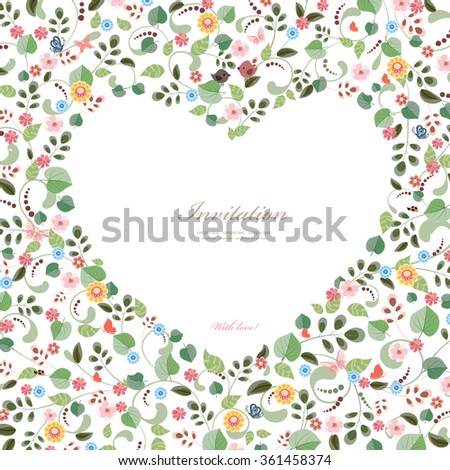 cute frame of heart with couple birds and flowers. happy valentines day - stock vector