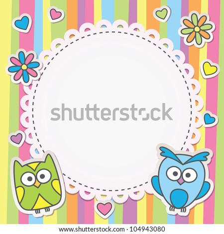 cute frame with cartoon owls on striped background - stock vector