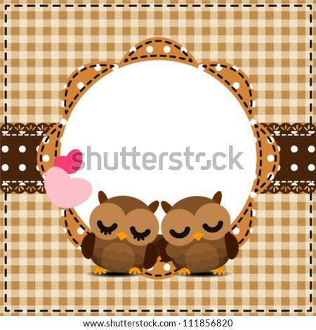 Cute Frames Owls Couple Stock Vector 111856820 - Shutterstock