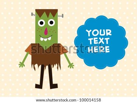 cute frankenstein card - stock vector