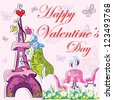 cute french valentine's day background - stock vector