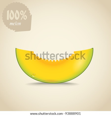 Cute fresh yellow melon illustration - stock vector