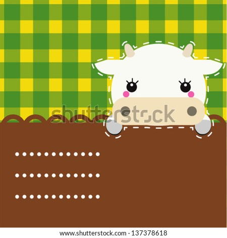Cute friendly cow. Place for your text.