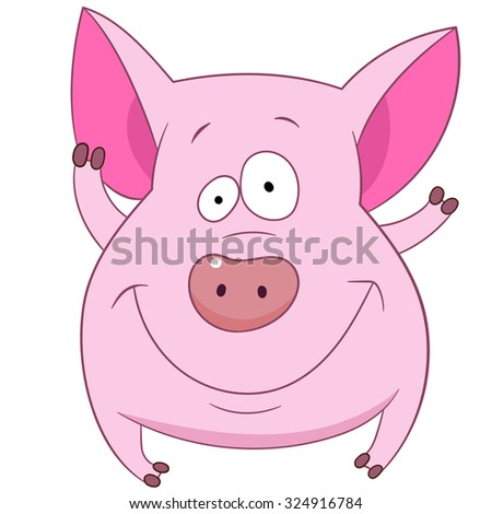 cute friendly pig is smiling and waving - stock vector