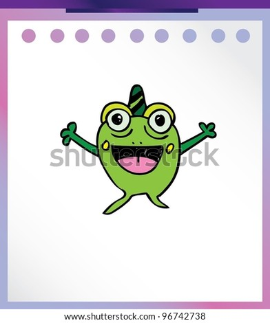 cute frog alien monster - vector illustration - stock vector