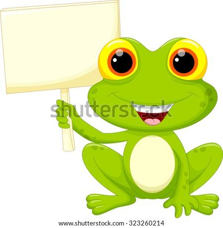 Cute frog cartoon with signboard  - stock vector