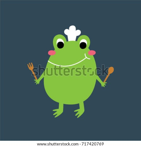 cute frog chef vector stock vector 717420769 shutterstock rh shutterstock com Cute Frogs Turtle Vector