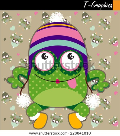 cute frog graphic - stock vector