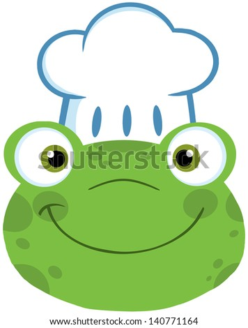 Cute Frog Smiling Head With Chef Hat. Vector Illustration - stock vector