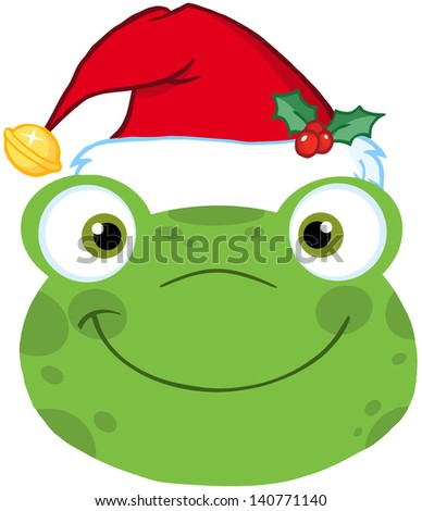 Cute Frog Smiling Head With Santa Hat. Vector Illustration - stock vector