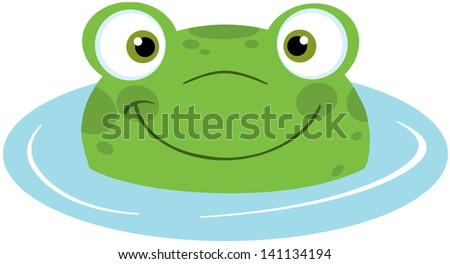 Cute Frog Smiling In Water. Vector Illustration - stock vector