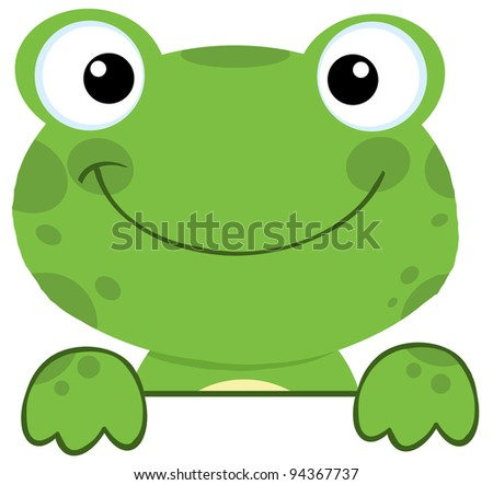 Cute Frog Smiling Over A Sign Board - stock vector
