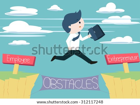 Cute fun businessman character is jumping from employee to entrepreneur. - stock vector