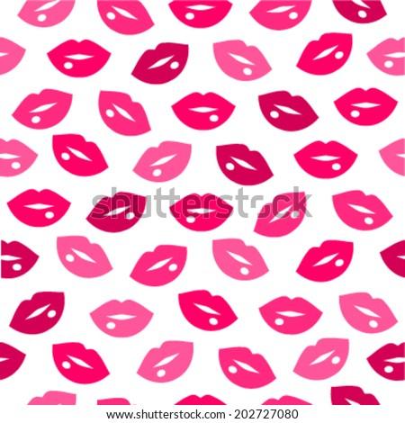 Cute fun pink lips kiss seamless pattern  - stock vector