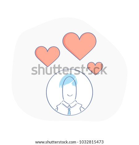 cute fun user head love thoughts stock vector royalty free