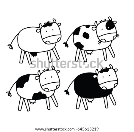 Cute Funny Cartoon Black And White Cows