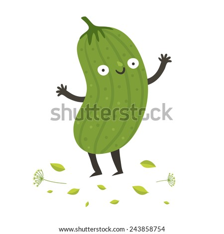 Cute funny cartoon cucumber. Smiling pickle character. Vector colorful illustration isolated on white in flat style