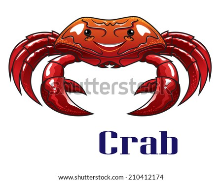Cute funny cartoon red crab with big claws for seafood or mascot design - stock vector