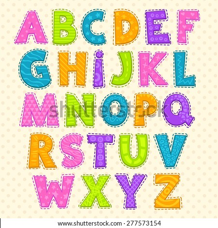 Cute funny childish alphabet. Vector font illustration - stock vector