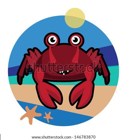 Cute funny crab cartoon smiling vector illustration - stock vector