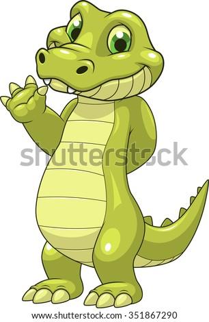 Cute funny crocodile - stock vector