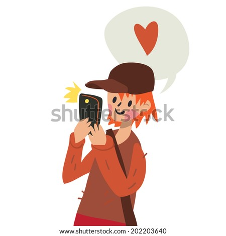 Cute funny flat cartoon vector boy with smart phone. For ui, web games, tablets, wallpapers, and patterns. - stock vector