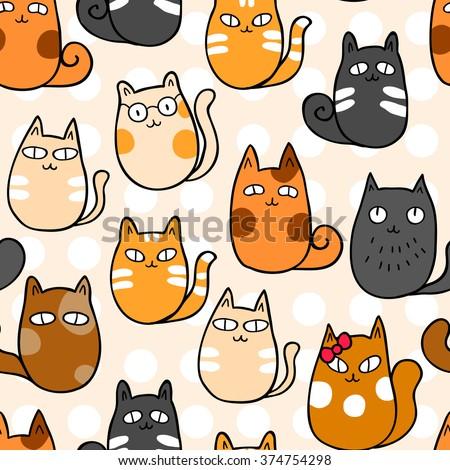 cats cartoon vector seamless wallpaper stock vector
