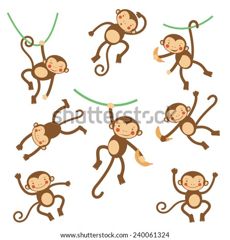 Cute funny monkeys  colorful collection. vector illustration - stock vector