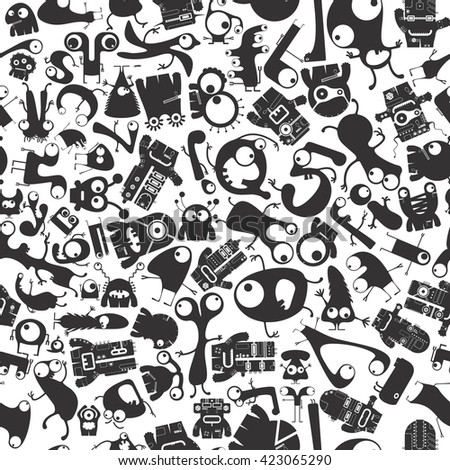 Cute Funny Monsters - seamless pattern.