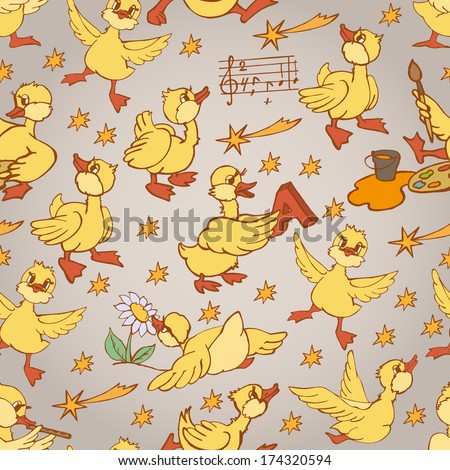 cute funny pattern with cartoon ducks.  Seamless pattern for fabric, paper and other printing and web projects. - stock vector