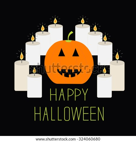 Cute funny pumpkin. Candle pyramid set. Halloween card for kids. Flat design. Black background Vector illustration - stock vector