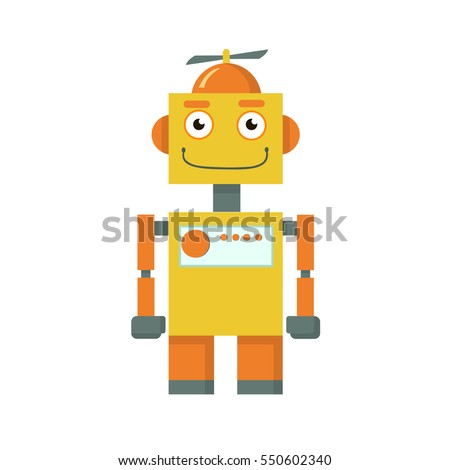 Cute funny robots on a white background. Vector illustration.