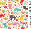 Cute funny seamless pattern with cats and butterflies - stock vector